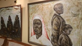 In the foyer of the M.Gafuri Bashram Theater works by a young artist Nazi Zagitova are exposes
